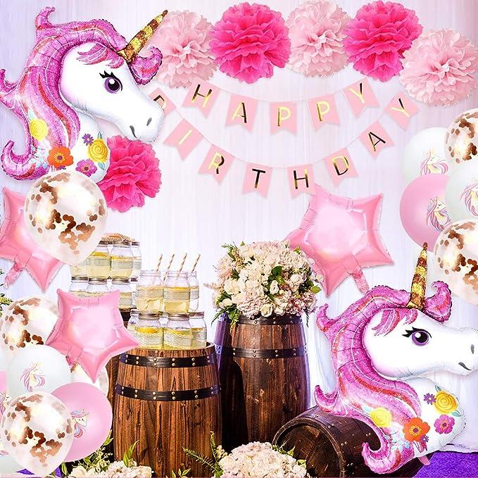 Einhorn Luftballons Girlande Aivatoba Einhorn Luftballons Rosa Wei/ß Lila Konfetti Luftballons Ballongirlande f/ür Kinder Geburtstag Deko Baby Shower Hochzeits Dekoratione Geschlecht Offenbaren