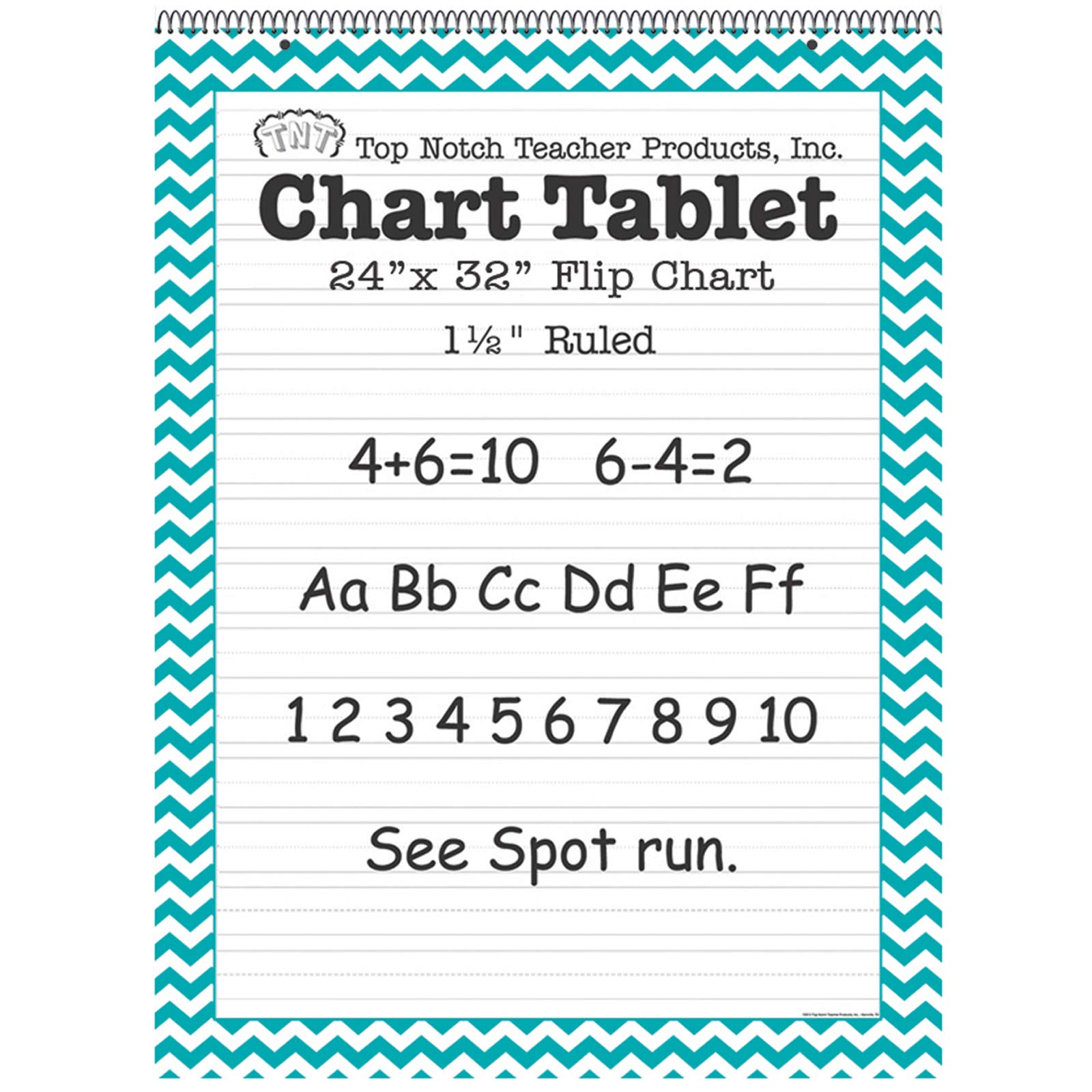 Top Notch Teacher Products TOP3859BN Chart Tablet, 24'' x 32'', 1-1/2'' Ruled, Teal Chevron, 25 Sheets, Pack of 2