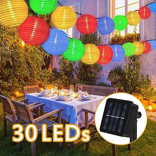 Luces solares de cuerda, 6m 30 LED guirnaldas de Luces farolillos ...