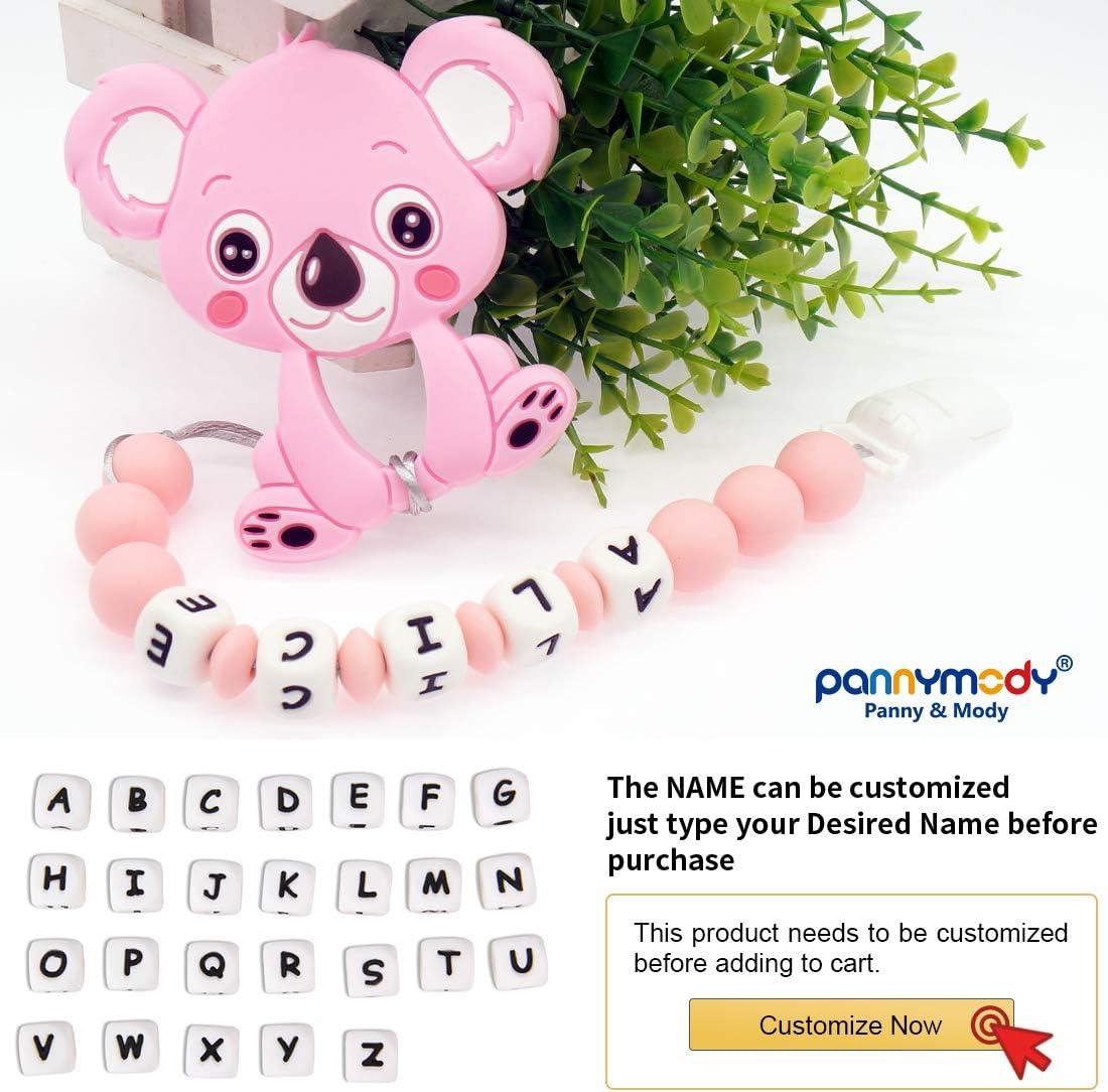 Gris Panny /& Mody Chupetero Personalizado Para Bebe con Nombre Bola Silicona Antibacteria con Koala de Silicona Alimentaria