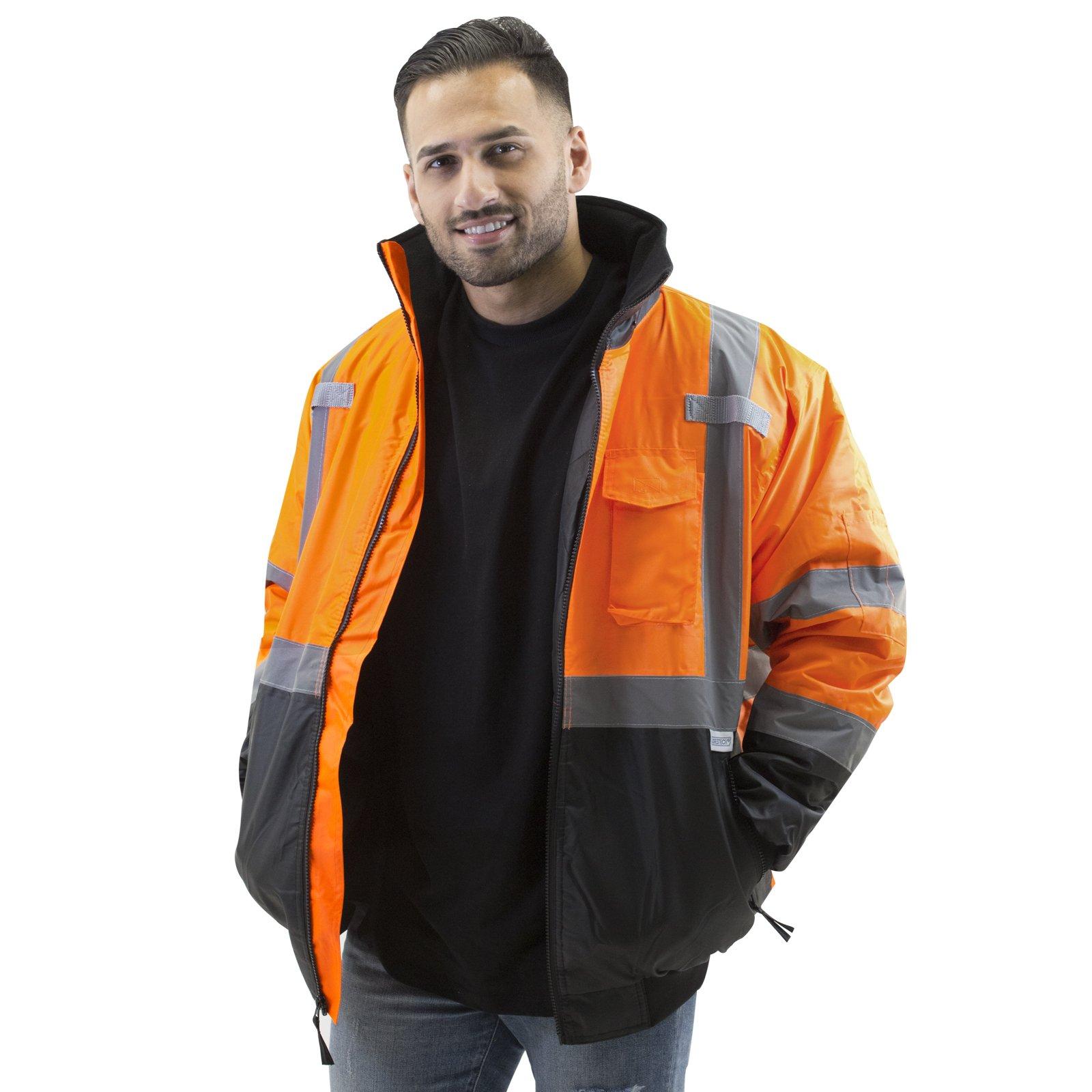 JORESTECH High Visibility Waterproof Bomber Jacket (Extra Large, Orange)