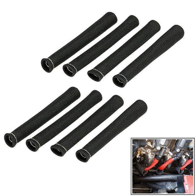 8 PCS YUK Black 1200/° Spark Plug Wire Boots Heat Shield Protector Sleeve SBC BBC 350 454 Black