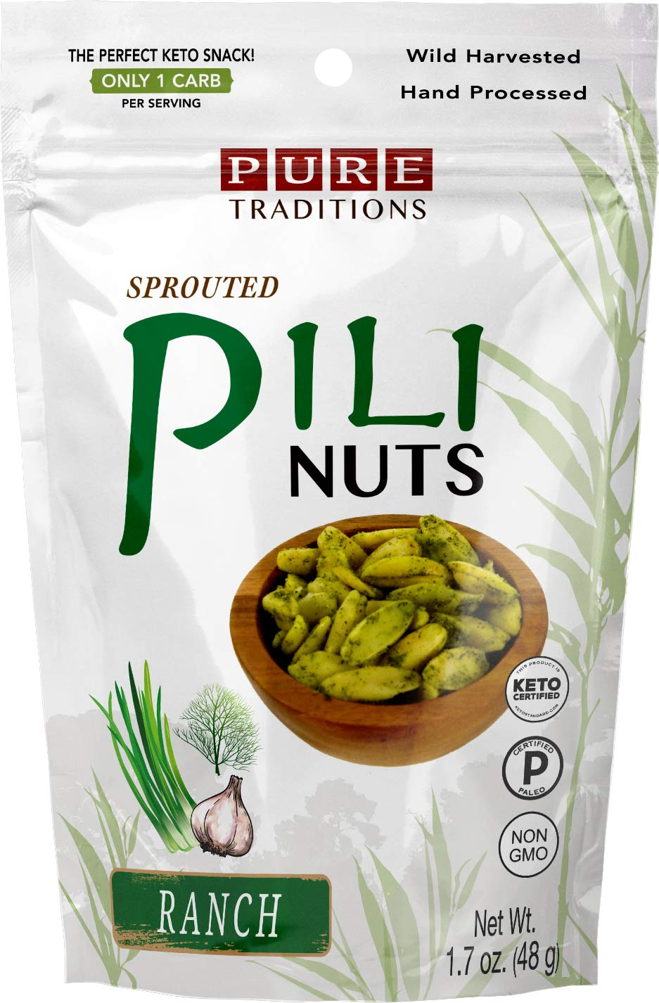 Sprouted Pili Nuts, Ranch, Certified Paleo & Keto (1.7 oz) by Pure Traditions