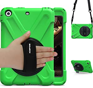 iPad Mini 1 Case iPad Mini 2 Case iPad Mini 3 Case,BRAECN Rotating Kickstand/ Hand Grip/Adjustable Shoulder Strap Heavy Duty Rugged Kids Cover Case for iPad Mini 1st/2nd/3rd Gen-Green