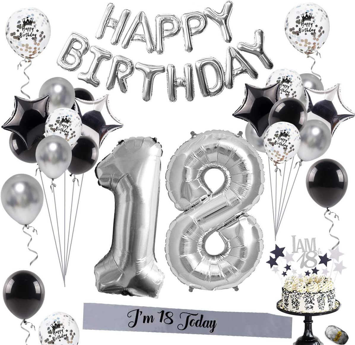 18th Birthday Decorations Party Supplies – Silver 18 Birthday, Silver Number 18 and HAPPY BIRTHDA Banner Balloon, Confetti Balloons, Foil Star Balloon, 18 Birthday Sash for Boys/Girls, MEN/WOMEN