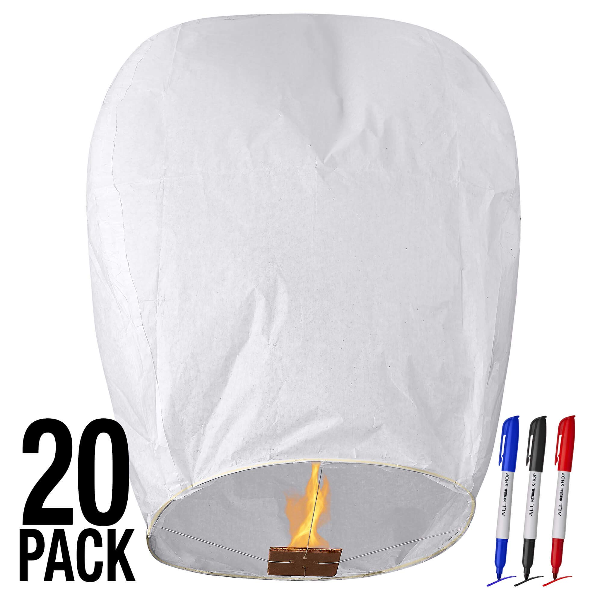 All Natural Shop 20 Pack White Chinese Sky Lanterns to Release in Sky - Biodegradable, Eco Friendly, Wire-Free Flying Paper Lanterns. Our Memorial Floating Wish Lanterns Can Be Used for Any Occasion! by All Natural Shop