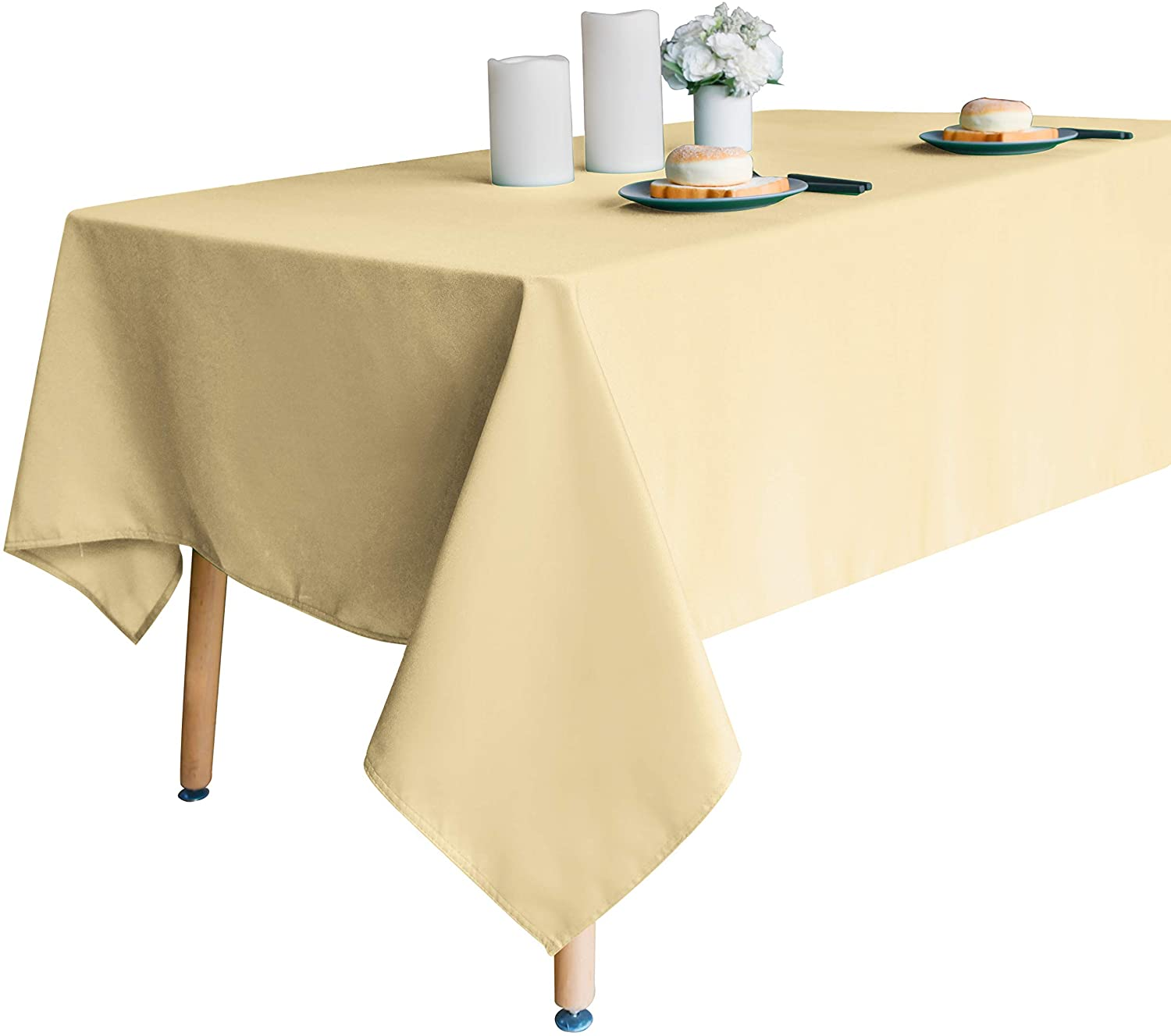 Obstal 210GSM Rectangle Table Cloth, Water Resistance Microfiber Tablecloth, Decorative Fabric Table Cover for Outdoor and Indoor Use (Champagne, 60 x 84 Inch)