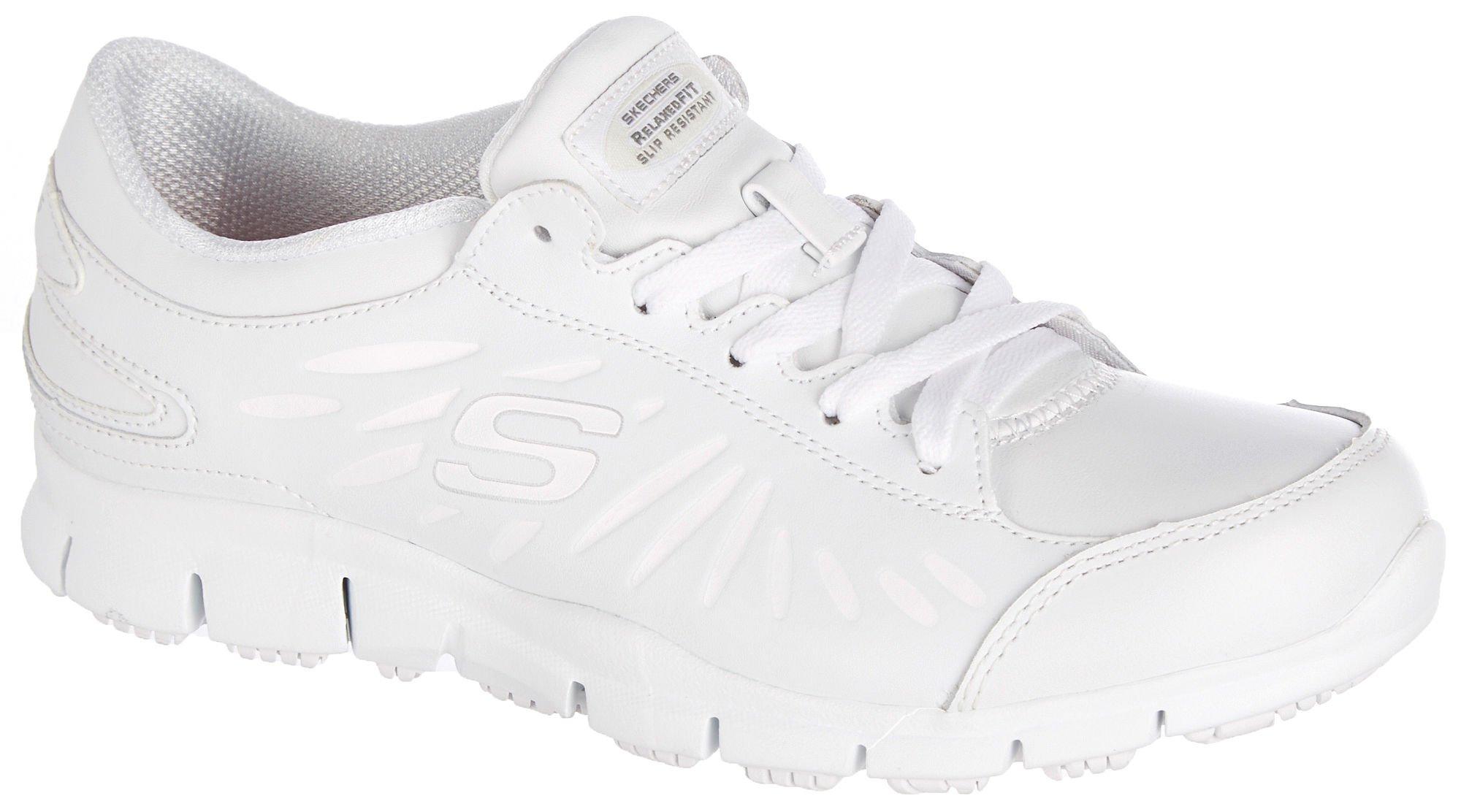 Skechers Women's, Eldred Dewey slip resistant Work Shoes WHITE 11 M