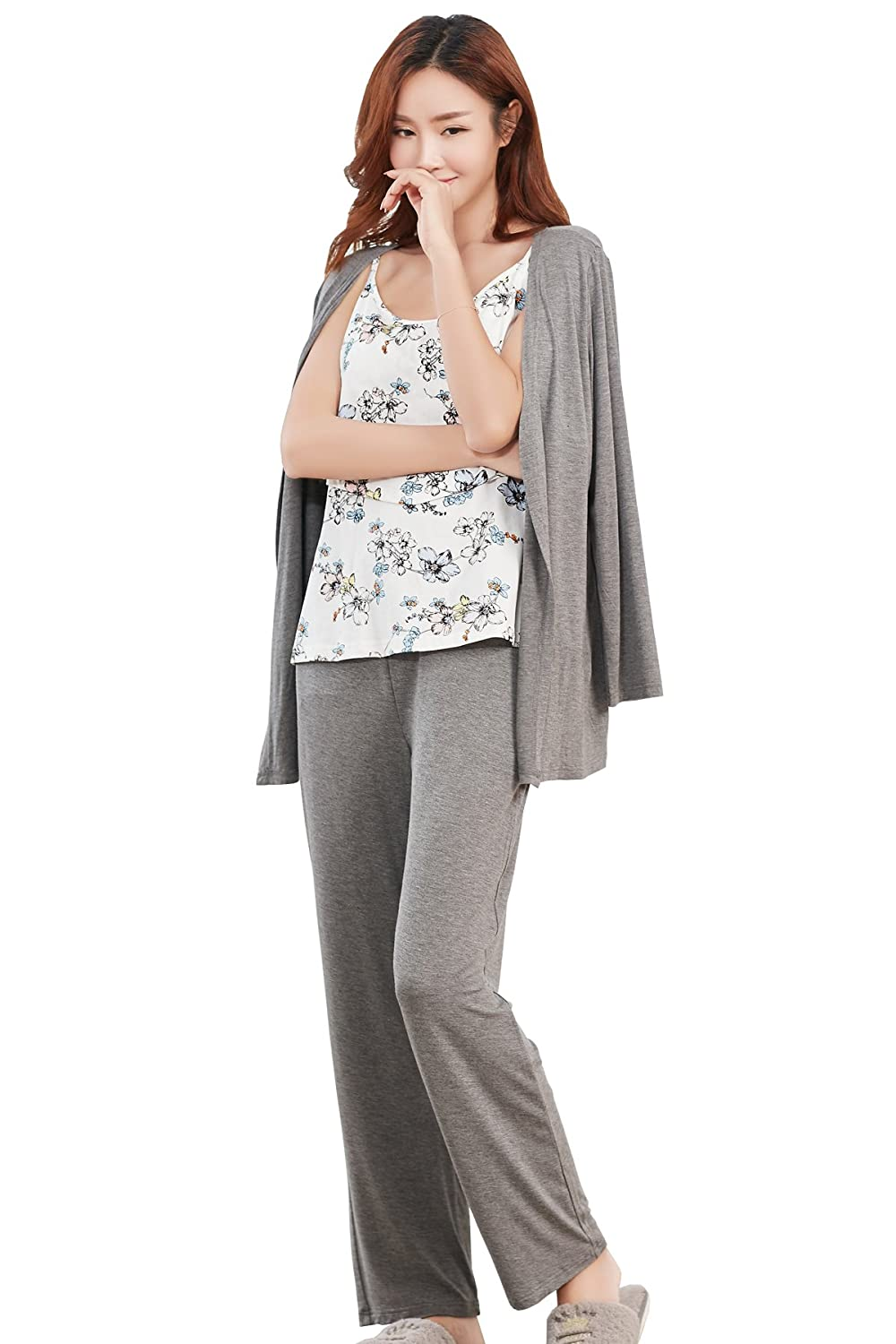 81a9650f50155 Epinmammy Women's 3 Piece Maternity and Nursing Pajama Set Nursing Top Pants  and Robe with Belt at Amazon Women's Clothing store:
