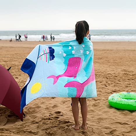 Amazon.com: Boys Girls Beach Towel Kids Children 100% Cotton Bath Towel Bathrobe Blanket: Clothing