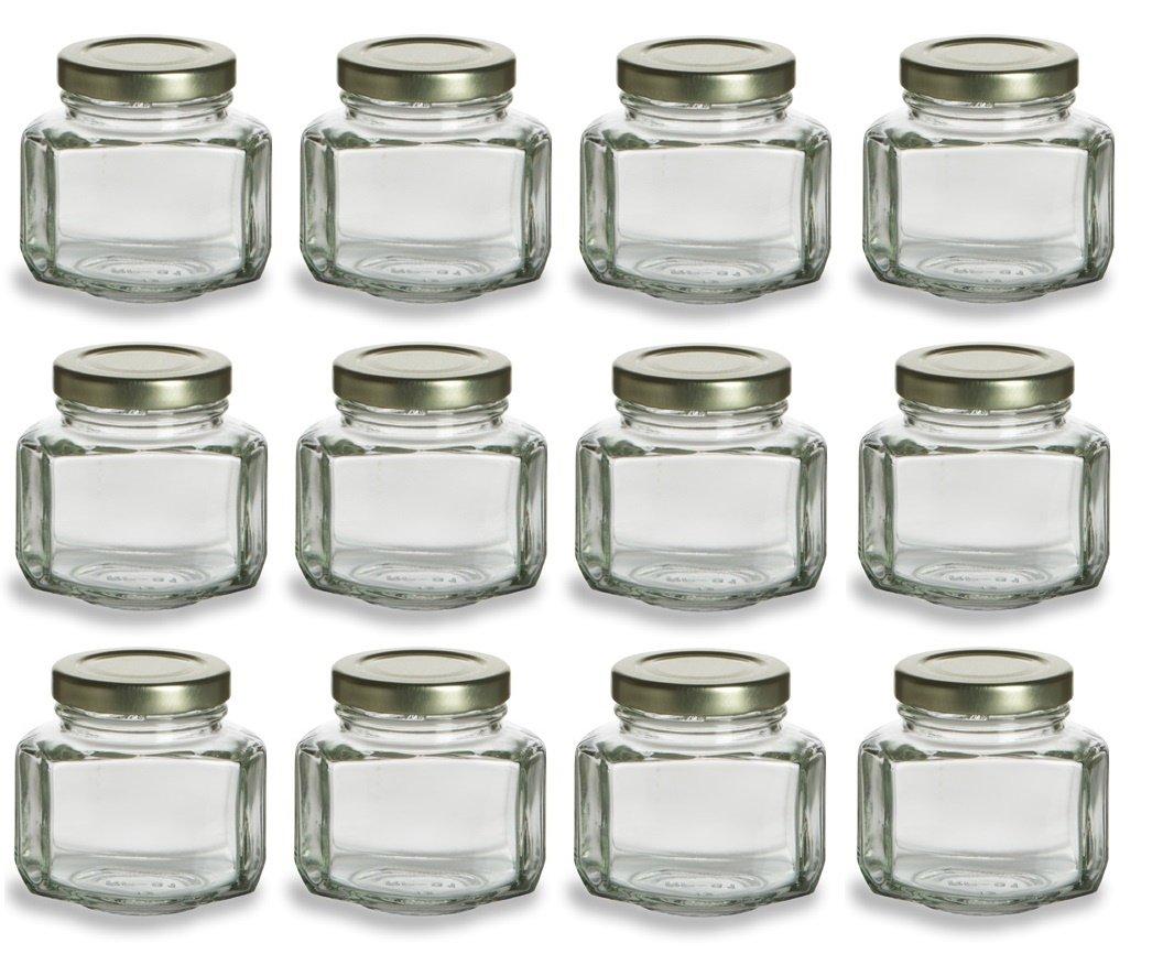 Nakpunar 12 pcs, 3.75 oz Oval Hexagon Glass Jars for Jam, Honey ...