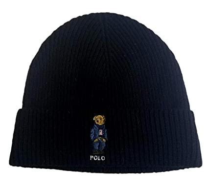 Polo Ralph Lauren Unisex Bear Design Wool Winter Skulllie Cap Beanie Hat  One Size (Black d25080f1a41