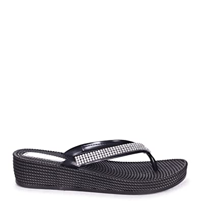68196b8a84eb KAIA - Black Wedged Jelly Flip Flop with Diamante Embellished Strap ...
