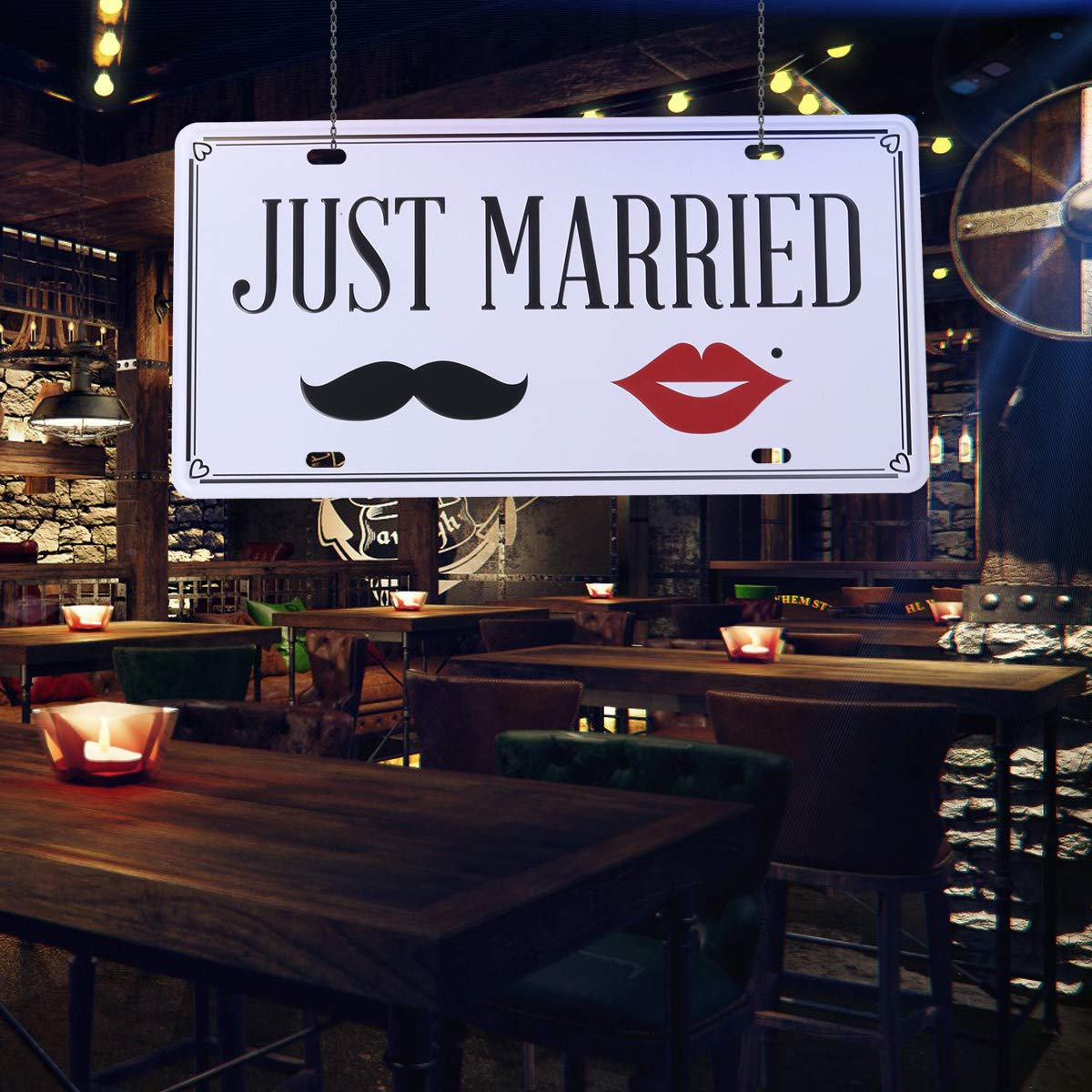 Vosarea Semplice verit/à segni decorativi depoca Tin Metal Iron Car Sign dipinto per la casa Bar Coffee Shop Just Married