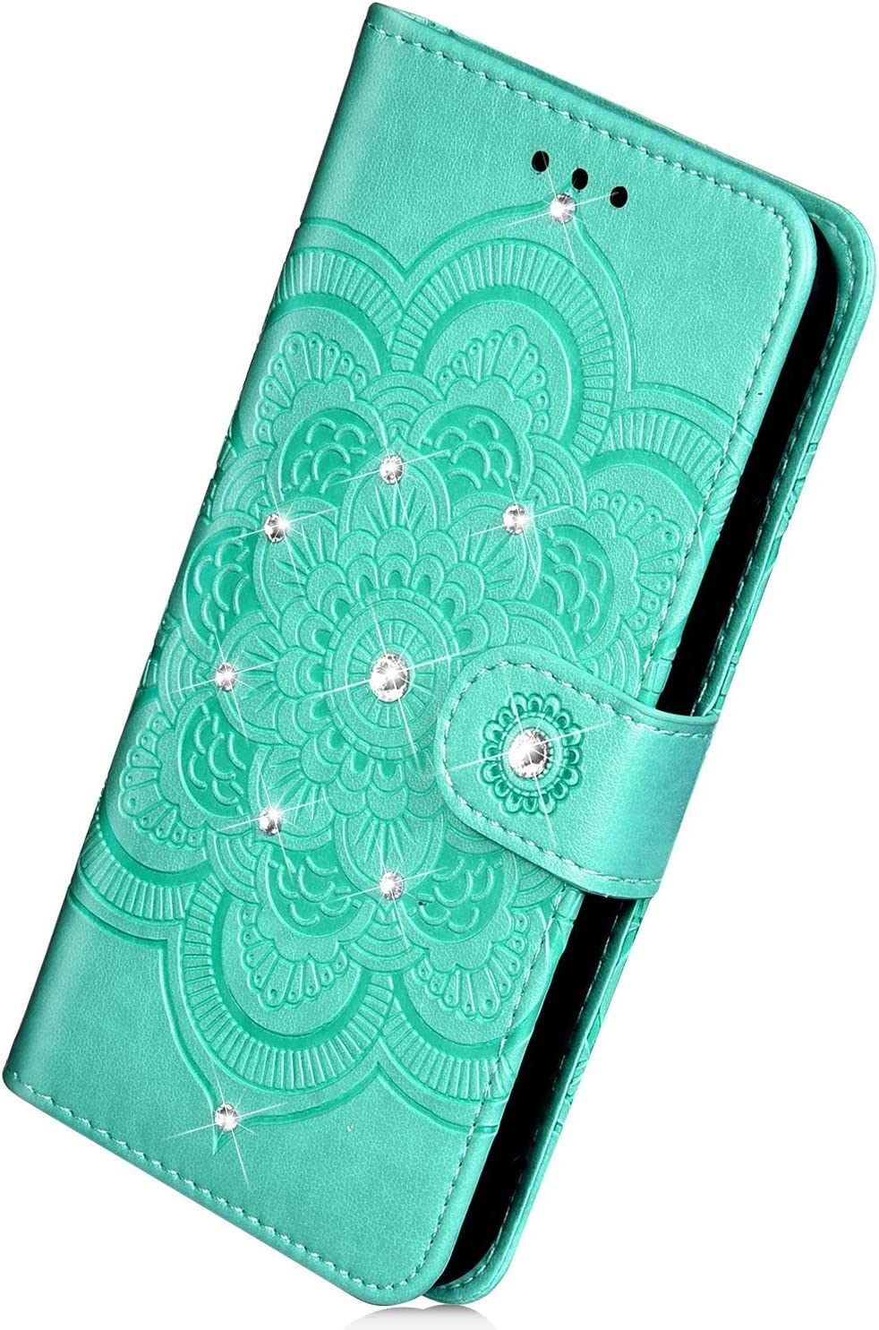 Herbests Compatible with Huawei P20 Lite 2019 Wallet Case Luxury Bling Glitter Diamond Rhinestone Leather Flip Cover 3D Pressed Mandala Flower Protective Case Card Slots Kickstand,Black