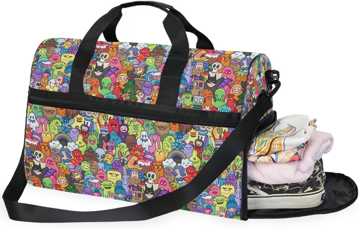 AHOMY Skull Doodle Sports Gym Bag with Shoes Compartment Travel Duffel Bag