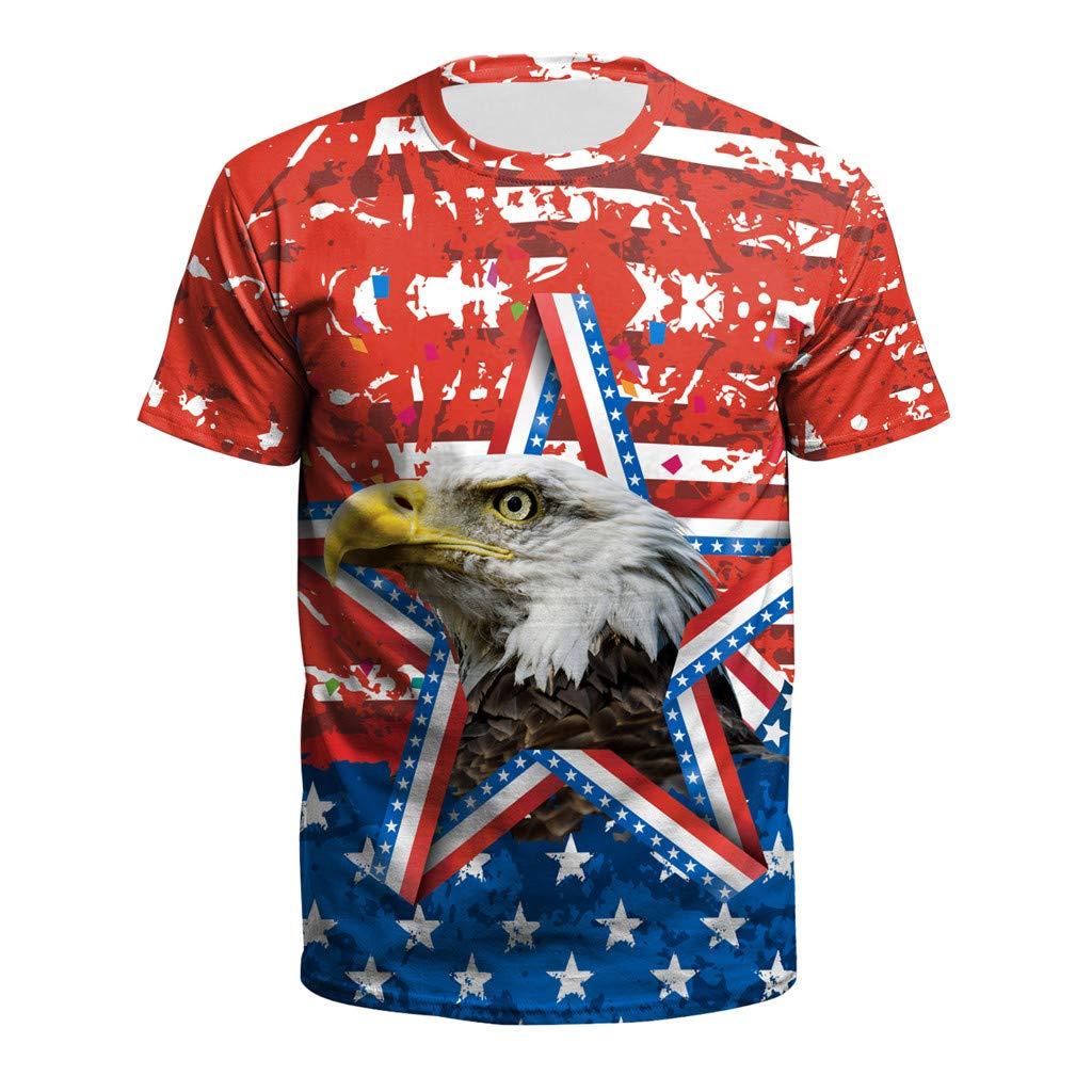 KLFGJ USA Patriotic Tees on July 4th,T-Shirts Men 3D Shirts Print Striped T Shirt Summer Tops