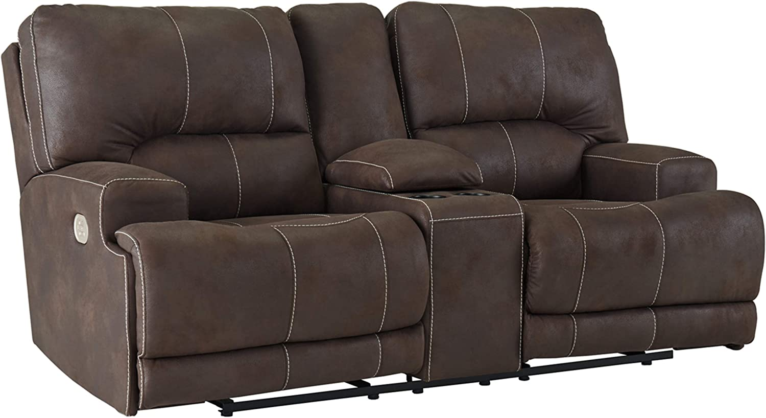 Signature Design by Ashley - Kitching Faux Leather Power Reclining Loveseat with Console, Dark Brown