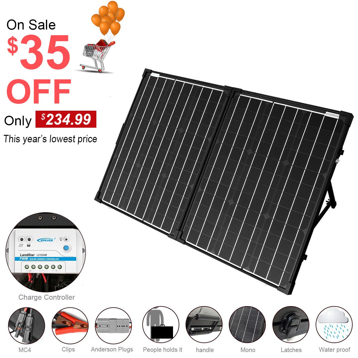 ACOPOWER 100W Foldable Solar Panel Kit, 12V Battery and Generator Ready Suitcase with Charge Controller