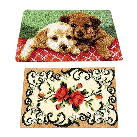 2 Sets Bear Latch Hook Rug Kits DIY Pillow Mat Rug Making for Kids Adults