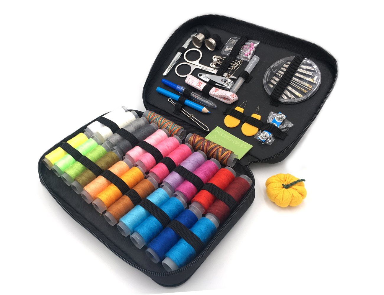 TerrificCorner Sewing Kit with 90 Sewing Accessories, 24 Spools of Thread -24 Color Sewing Supplies for Beginners, Traveler, Emergency, Kids, Summer Campers and Home 4337012318