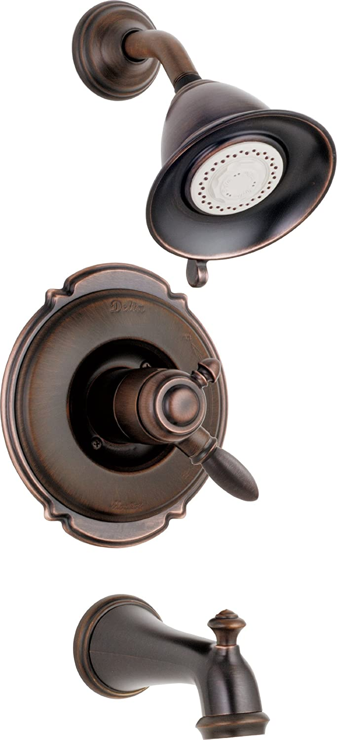 Delta Faucet Victorian 17 Series Dual-Function Tub and Shower Trim Kit with 2-Spray Touch-Clean Shower Head, Venetian Bronze T17455-RB (Valve Not Included)