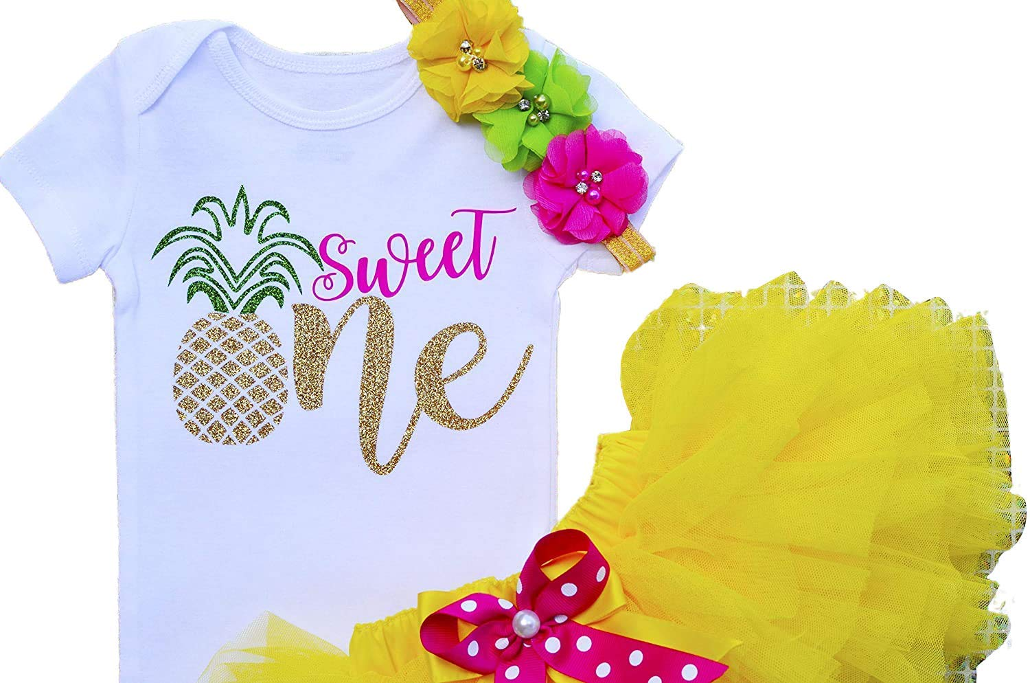 Sweet One in Golden Sparkle First Tutu Outfit for Toddler Gift to Daughter or Granddaughter Birthday Bodysuit for Baby Girl One Year Party Cake Smash for Photo Props