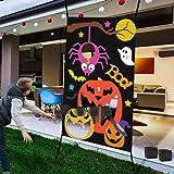 IROO Halloween Bean Bag Toss Games + 3 Bean Bags, Halloween Games Party Decorations Pumpkin Spider Web, Halloween…