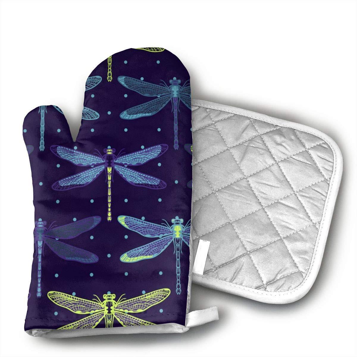 CASM Hand Drawn Stylized Dragonflies Pattern Premium Terylene/Nylon Oven Mitts and Pot mat,Pot mat/Hot Pads, Heat Resistant Gloves BBQ Kitchen