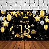 13th Birthday Background Banner 13th Birthday Party Decoration Extra Large Black Gold Sign Poster for Anniversary Photo Booth
