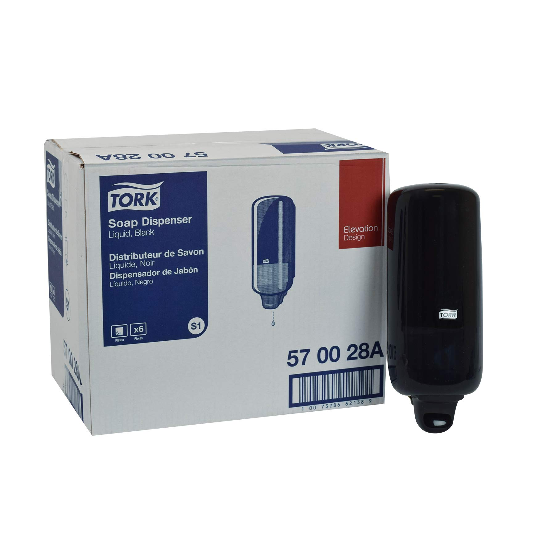 Tork 570028A Elevation Liquid Skincare Dispenser, 11.5'' Height x 4.4'' Width x 4.5'' Diameter, Black, for use with Tork 400011, 400012, 400013, 400014 or 400016