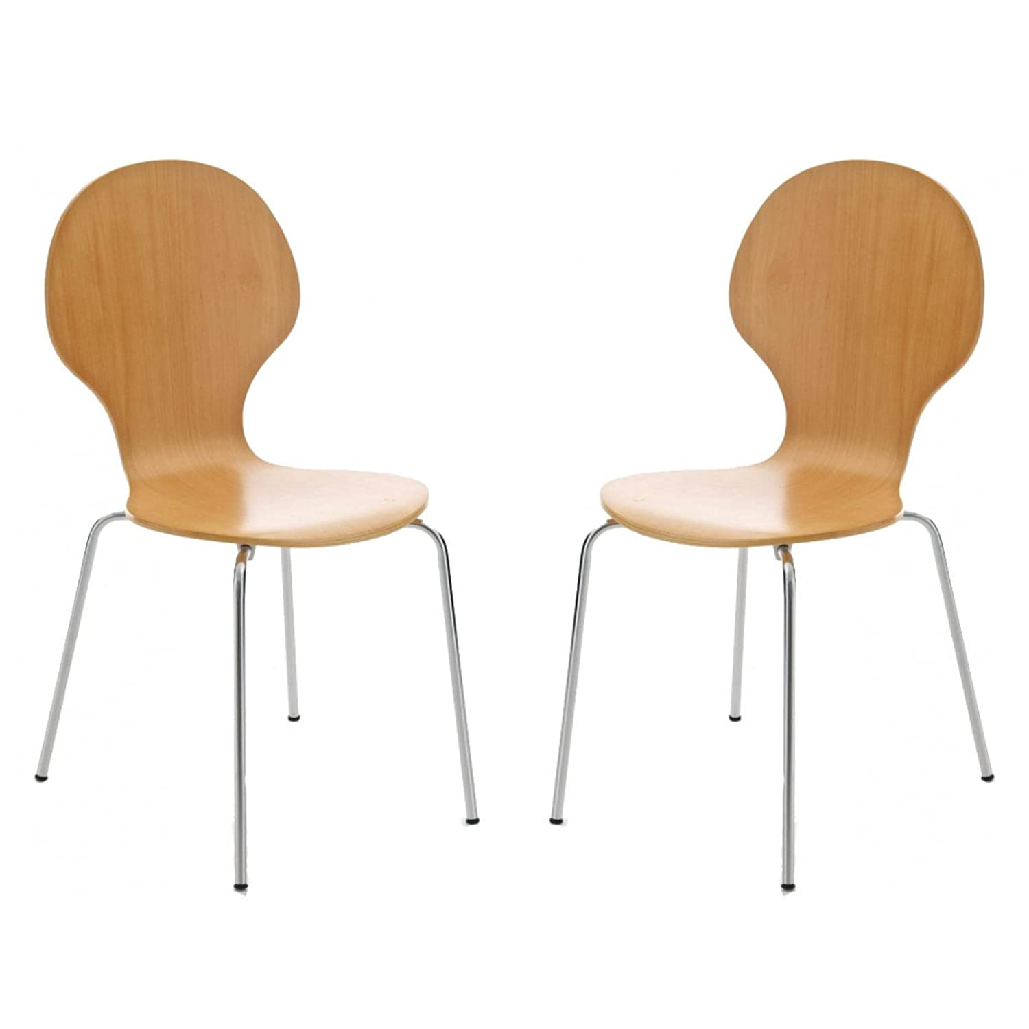 Your Price Furniture.com Set of 2 Beech Wood and Chrome Metal ...