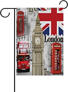 guang London British Big Ben Union Jack Garden Flag 12 X 18 Inches, Double Sided Outdoor Yard Yall Garden Flag for Wedding Party House Home Decor