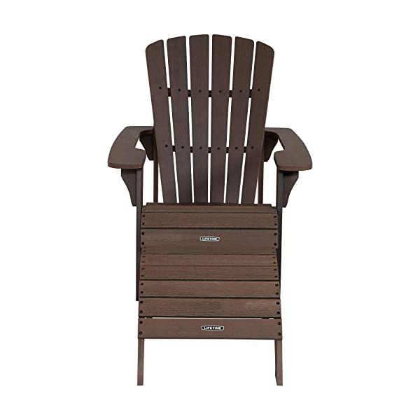 Lifetime 60294 Adirondack Chair and Ottoman Set, Rustic Brown