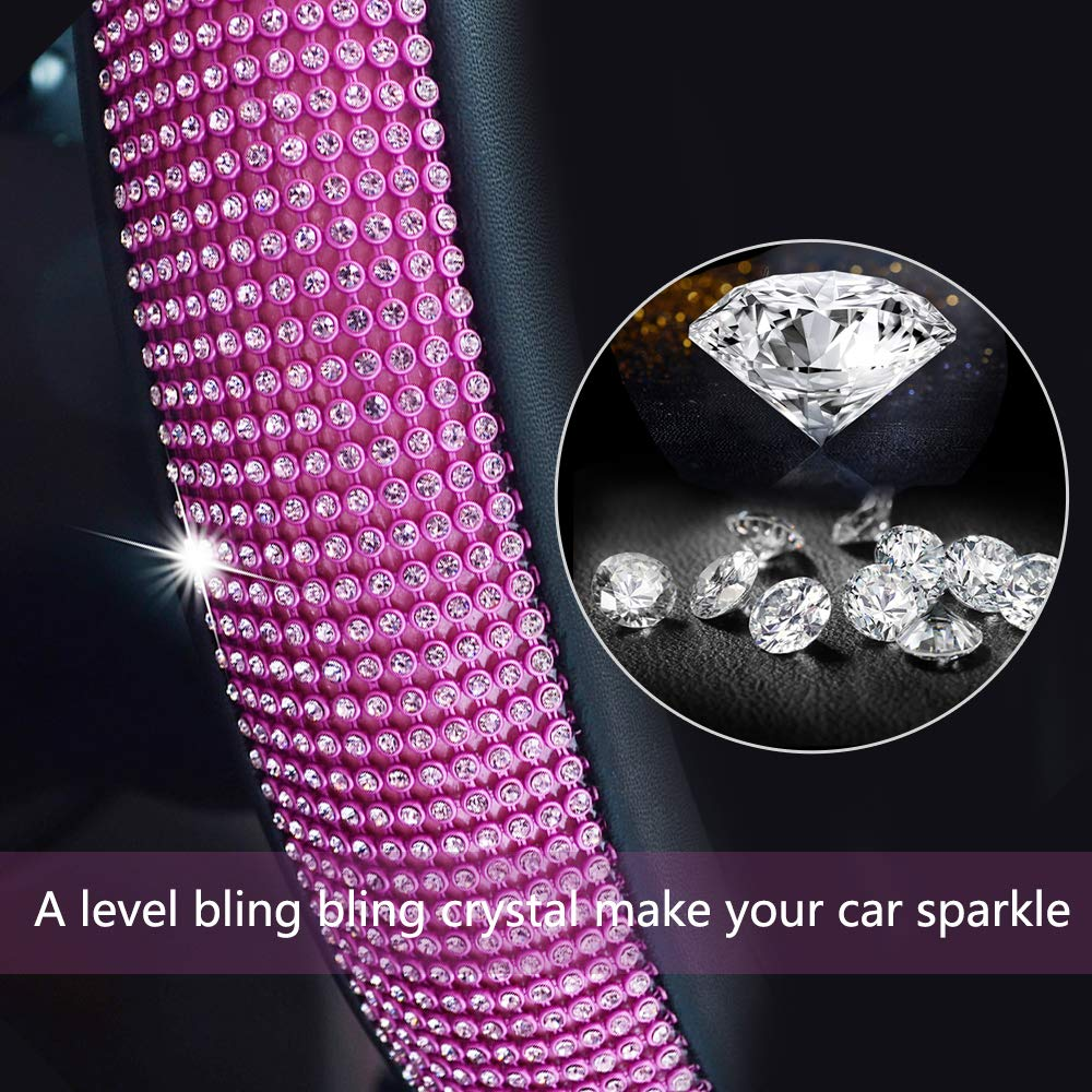 Valleycomfy Colorful Diamond Leather Steering Wheel Cover with Bling Bling Crystal Rhinestones Universal Fit 15 Inch Anti-Slip Wheel Protector for Women Girls