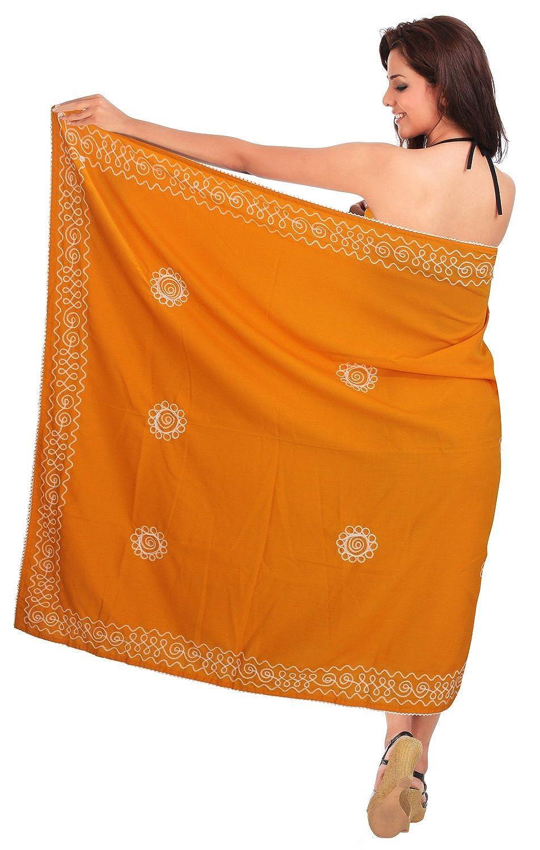 La Leela Rayon Stickerei Orange alles in einem /Badeanzug/Strand loung Abnutzung/Badeanzug vertuschen/Tunika/sundress/Bikini Schlitz Rock/Damen wickeln Pareo/Sarong Kleid 182x108 cm