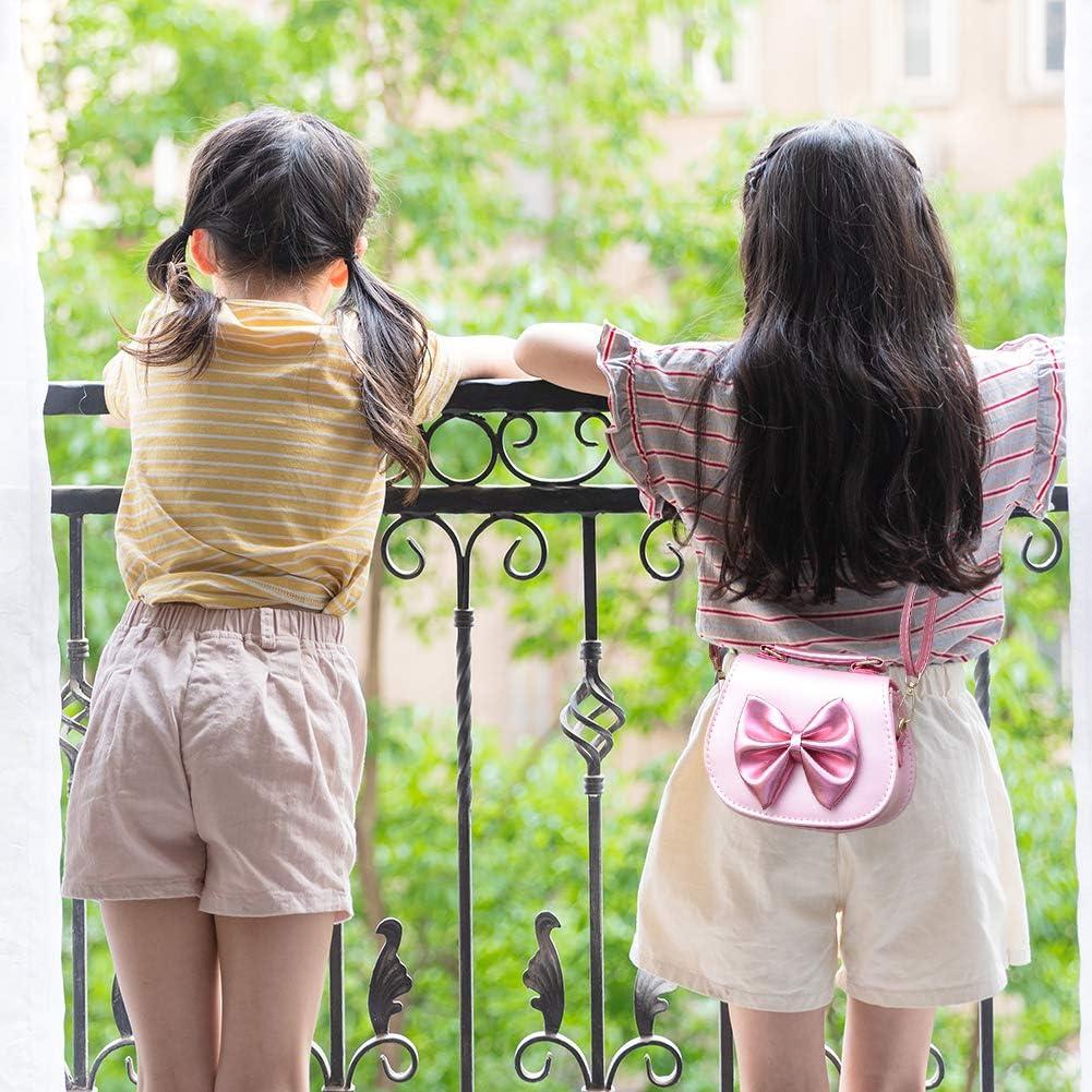 INSOUR Sac a Main Enfants Fille Or Petit Sac /à Bandouli/ère avec N/œud Papillon pour Petite Filles 3-12 Ans