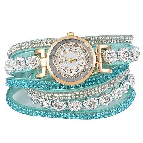 SSITG Damen Uhr Armbanduhr Quarzuhr Wickelarmband Analog Strass Farben 40cm