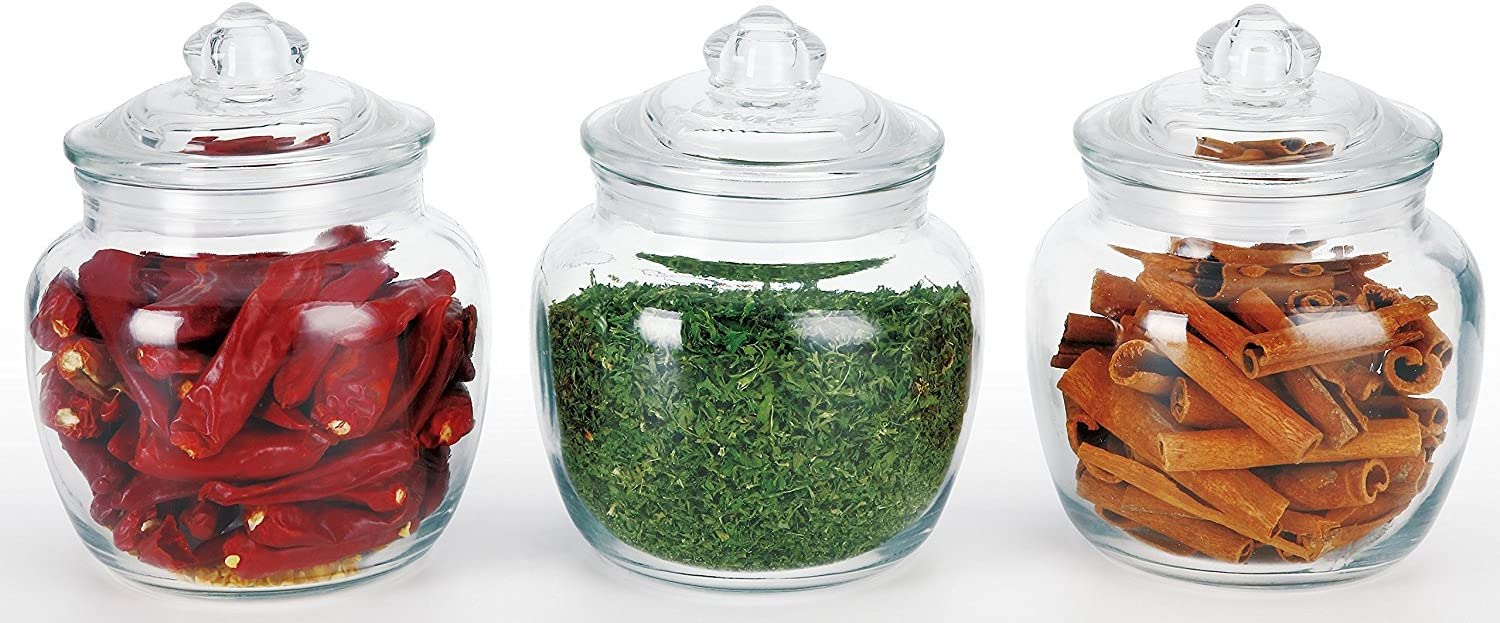 Home Style 3 Piece Glass Canister Set Airtight Seal 20oz Petite Sizes Perfect For Beans Teas And Snacks Candy Jar Home Kitchen