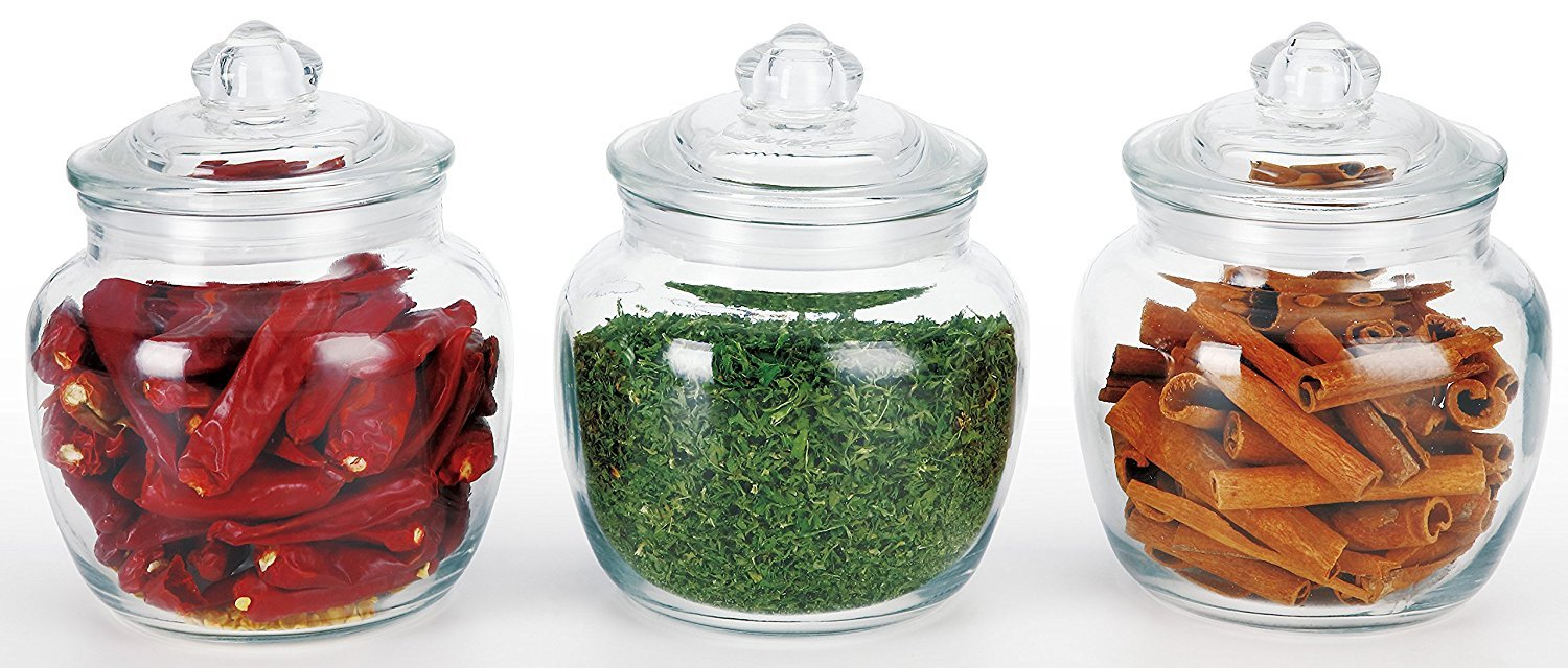 DINY Home & Style 3 Piece Glass Canister Set Airtight Seal 20oz Petite Sizes Perfect for Beans, Teas and Snacks Candy Jar Home Collection COMIN18JU077846