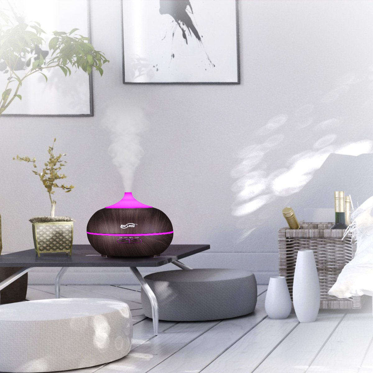 Housmile 300ml Wood Grain Essential Oil Diffuser, Ultrasonic Aroma Cool Mist Humidifier with 7-Color LED Light Changing & 4 Times Setting for Office Room