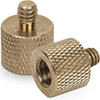 """Standard 3/8""""-16 Female to 1/4""""-20 Male Tripod Thread Reducer Screw Adapter (Brass) Precision Made (2 Pack)"""