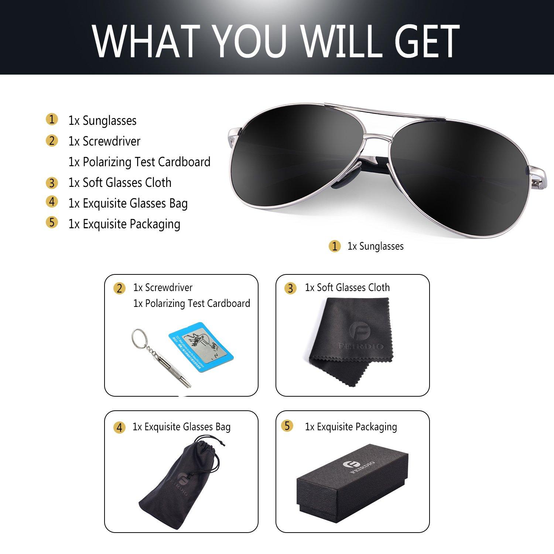 FEIRDIO Gafas de Sol polarizadas Aviator para Hombre - Marco de Metal Mujer - Protección UV 400 FD 2261: Amazon.es: Hogar
