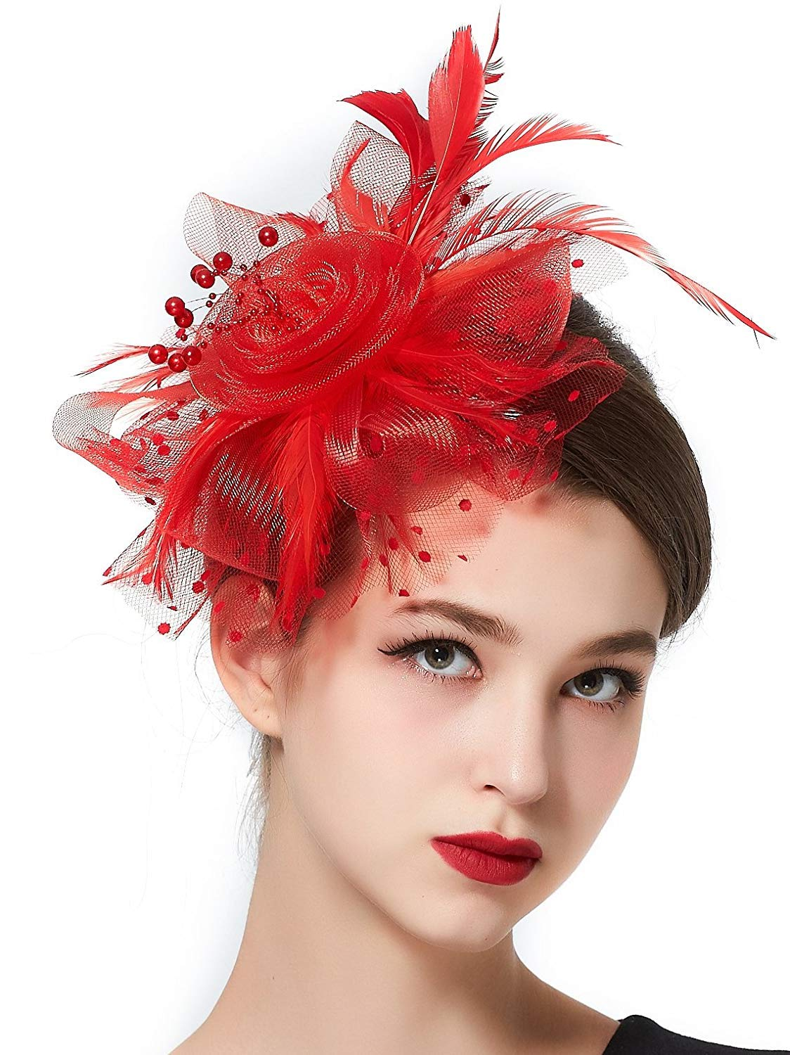 XingQiPlay Womens Fascinators Hat Feather Mesh Net with Headband and Hair Clip Headwear for Girls Red