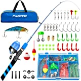 PLUSINNO Kids Fishing Pole, Portable Telescopic Fishing Rod and Reel Combo Kit - with Spincast Fishing Reel Tackle Box…