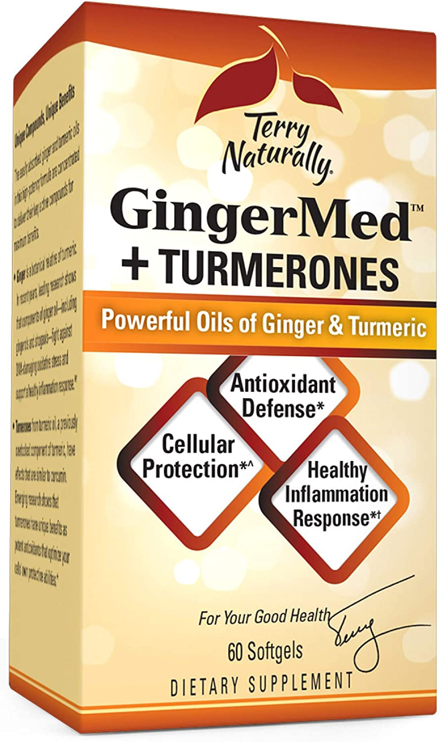 Terry Naturally GingerMed + Turmerones - 60 Softgels - Promotes Healthy Inflammation Response, Cellular Protection & Antioxidant Defense - Non-GMO, Gluten-Free - 60 Servings