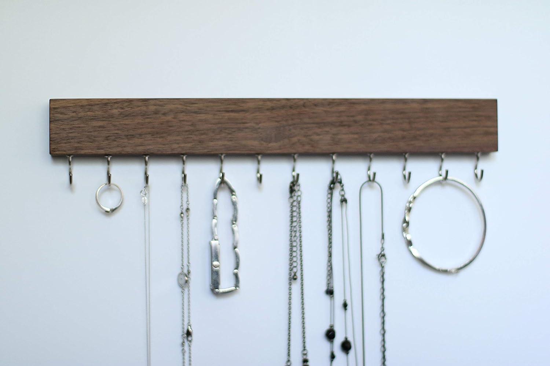 SOLID WALNUT WOOD Wall Mount Jewelry Organizer/Necklace Handmade Holder Hooks Key Holder Hanging Stand Rustic Decor/Best gift idea / 12 silver hooks bottom