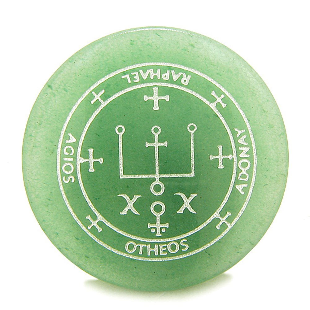Sigil of the Archangel Raphael Magical Amulet Amulet Green Quartz Magic  Gemstone Circle Spiritual Powers Keepsake Totem