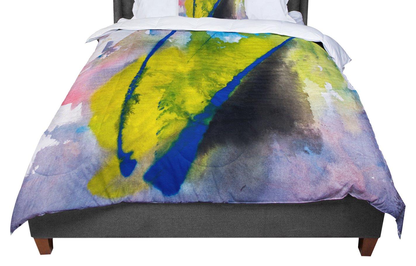 KESS InHouse Malia Shields 'Exploration' Yellow Blue Twin Comforter, 68' X 88'