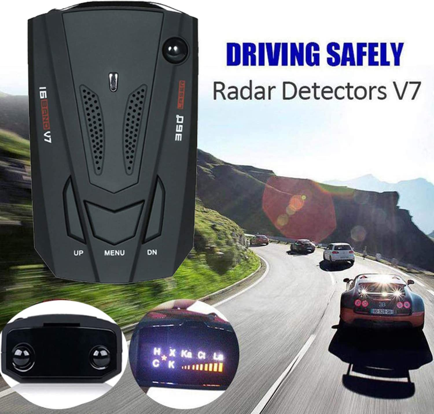 Laser Radar Detector for Cars FCC Approved Voice Alert and Car Speed Alarm System City//Highway Mode 360 Degree Detection Radar Detectors with LED Display for Cars